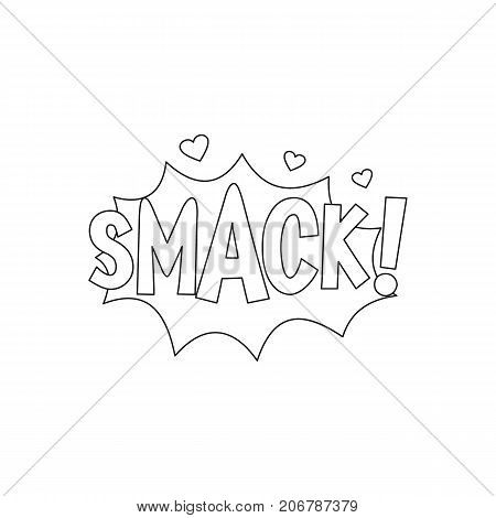 Comic speech bubble with expression text SMACK. Comic speech bubble outline vector illustration for games cartoon animation and web