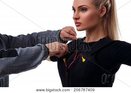 Trainer Helps Attaching Ems