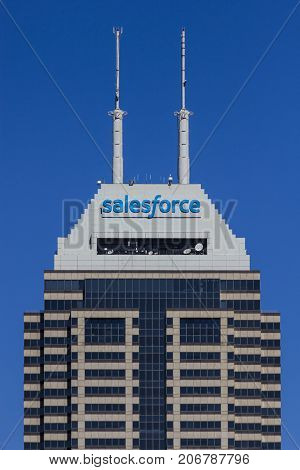 Indianapolis - Circa September 2017: Recently renamed Salesforce Tower. Salesforce.com is a cloud computing company and will add 800 new jobs to Indianapolis VI