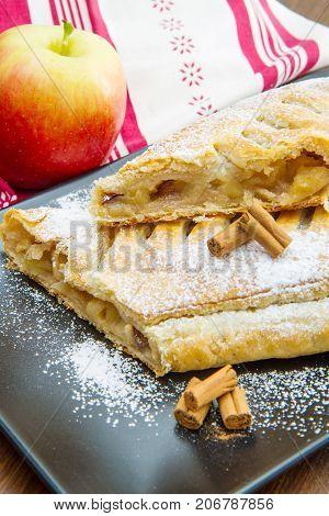apple strudel with fresh apple and cinnamon