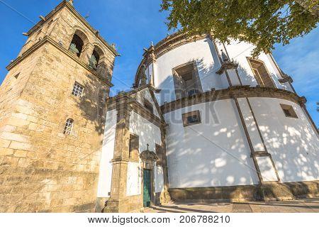 Prospective view of Monastery of Serra do Pilar only church in Portugal with circular plan and symbol of Vila Nova de Gaia in Porto city. Urban landmark building. World Heritage Site of Unesco.