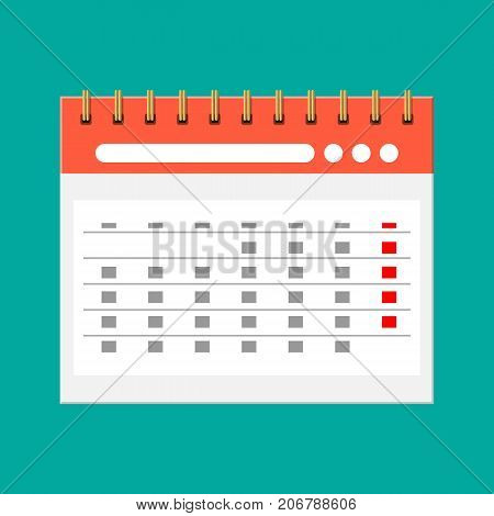 Paper spiral wall calendar. Calendar flat icon. Schedule, appointment, organizer, timesheet, important date. Vector illustration in flat style