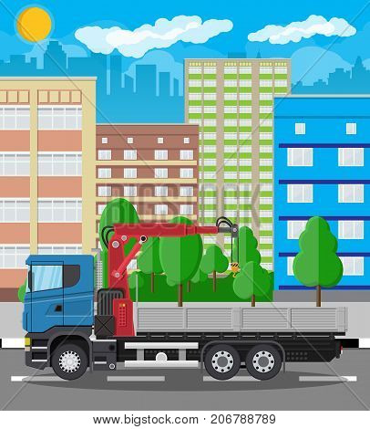 Truck with crane and platform. Cargo delivery truck. Vehicle for construction and building. Car for transport. Trailer vehicle. Cityscape, road, buildings, tree, sky. Vector illustration in flat style