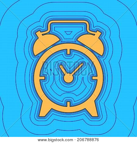 Alarm clock sign. Vector. Sand color icon with black contour and equidistant blue contours like field at sky blue background. Like waves on map - island in ocean or sea.
