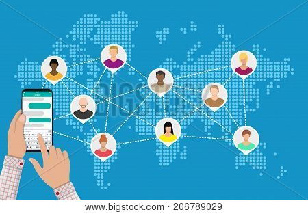 World map with people avatars. Social netwroking. Male and female faces avatars. Discussion group, people talking. Communication, chat, assistance. Hand, smartphone. Vector illustration in flat style