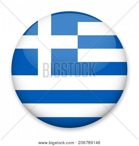 Flag of Greece in the form of a round button with a light glare and a shadow. The symbol of Independence Day, a souvenir, a button for switching the language on the site, an icon.