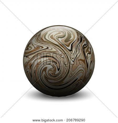 Agate stone ball, vector semiprecious gemstone, round cabochon with marble pattern on white