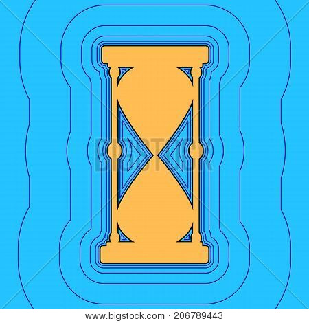 Hourglass sign illustration. Vector. Sand color icon with black contour and equidistant blue contours like field at sky blue background. Like waves on map - island in ocean or sea.