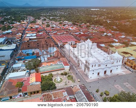Aerial cityscape view of Leon city in Nicaragua. Tourist destination in Nicaragua