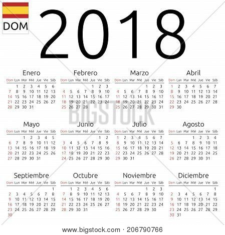 Calendar 2018, Spanish, Sunday