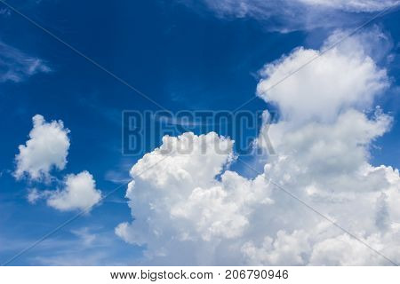 Beautiful cumulus clouds with blue sky background