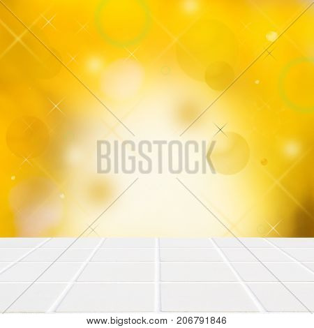 White Ceramic Mosaic Floor And Lights On Yellow Wall