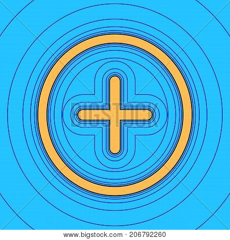 Positive symbol plus sign. Vector. Sand color icon with black contour and equidistant blue contours like field at sky blue background. Like waves on map - island in ocean or sea.