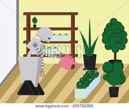 Domestic robot watering plants at home garden. Robot housekeeper with watering can in arm. Personal robot housekeeping futuristic concept illustration vector.