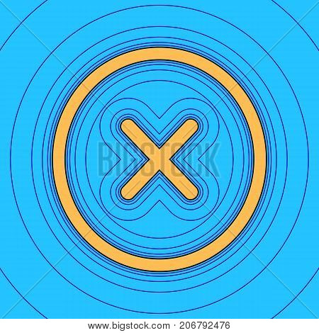 Cross sign illustration. Vector. Sand color icon with black contour and equidistant blue contours like field at sky blue background. Like waves on map - island in ocean or sea.
