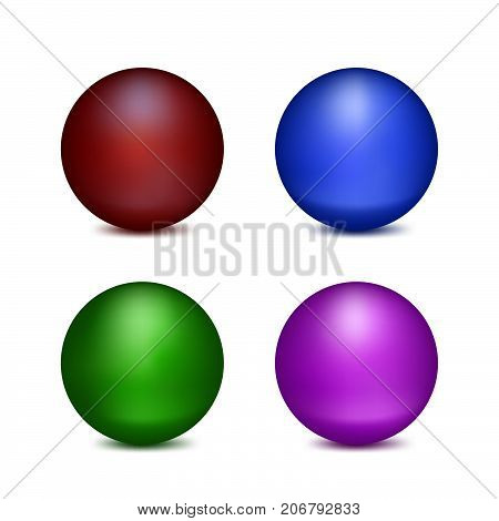 Four Colored Balls. Set of Isolated Objects on White Background.