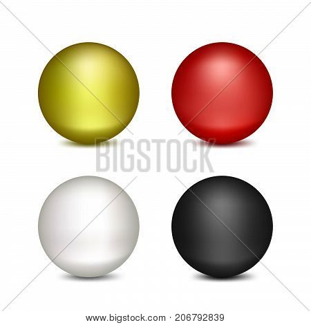 Colored Balloons. Set of Isolated Objects on White Background.