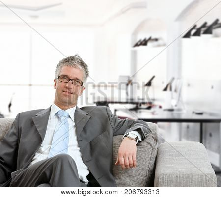 Portrait of confident mature businessman sitting in armchair, looking at camera.