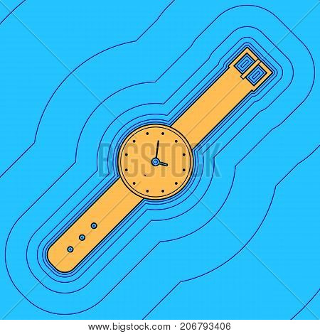 Watch sign illustration. Vector. Sand color icon with black contour and equidistant blue contours like field at sky blue background. Like waves on map - island in ocean or sea.