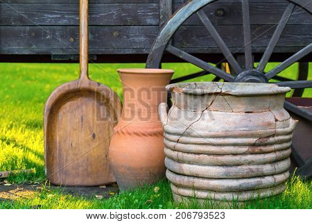ancient rural ware and utensils closeup and cart