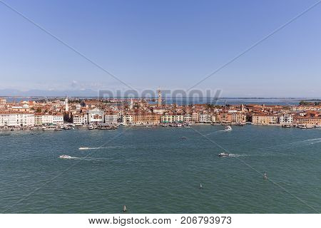 VENICE ITALY - SEPTEMBER 21 2017: Aerial view of the city coastal boulevards water transport. Venice is a unique city on the islands the Venetian Lagoon is a UNESCO World Heritage Site