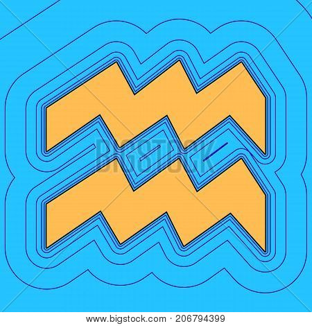Aquarius sign illustration. Vector. Sand color icon with black contour and equidistant blue contours like field at sky blue background. Like waves on map - island in ocean or sea.