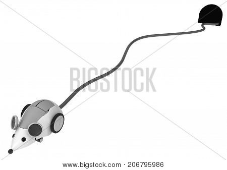 Robotic computer mouse long cable tail hole 3d illustration horizontal isolated