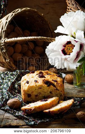 Cranberry and walnut bread baked in the bread machine.style rustic/ selective focus