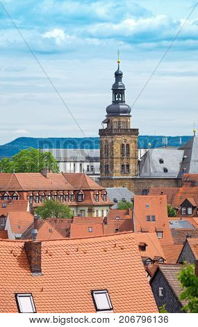 Bamberg cityscape with St. Martin Church belfry in Bavaria, Germany