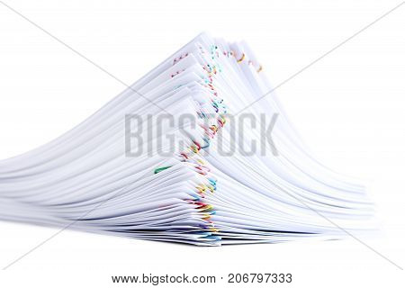Stack of papers with paperclips on white background