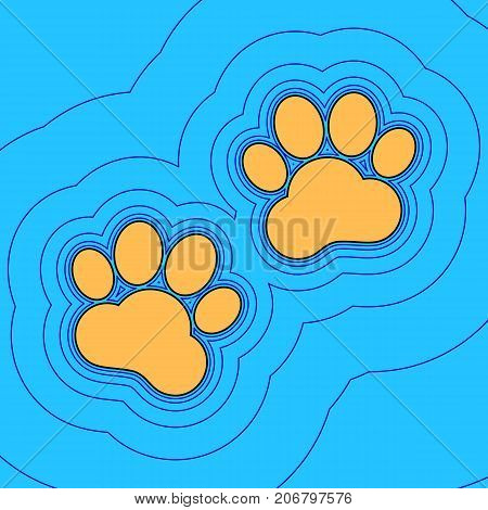 Animal Tracks sign. Vector. Sand color icon with black contour and equidistant blue contours like field at sky blue background. Like waves on map - island in ocean or sea.