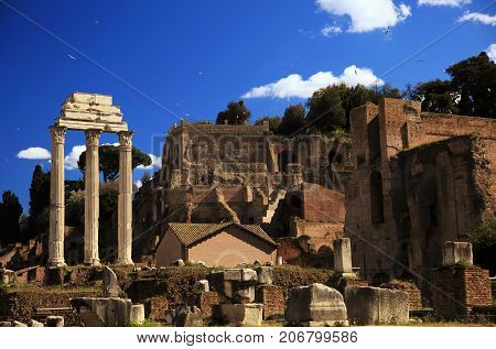 Ruins of Rome Forum in Rome, Italy