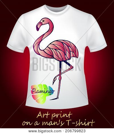 Collection of stylish prints for men's T-shirts. Bright exotic bird - pink flamingo, creative bright neon sketch, close-up