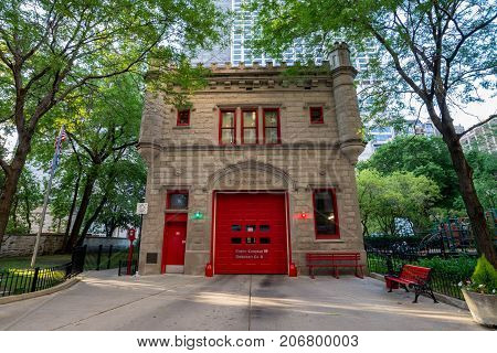 Chicago Illinois USA - July 02 2017: Fire Department building in Chicago downtown