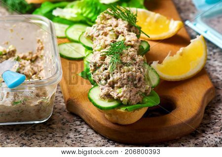Tuna salad sandwich. .style rustic. selective focus