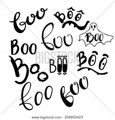 Happy Halloween vector design elements. Boo set lettering illustraions. Doodle letters for greeting card, print, invitation, banner, poster.