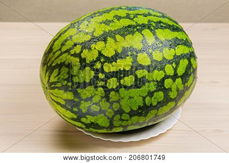 Fresh watermelon, fabric background, ripe striped melon on a white table, close-up of fresh watermelon red lying on a white plate, sweet harvest. Watermelon pattern. Green Watermelon background.