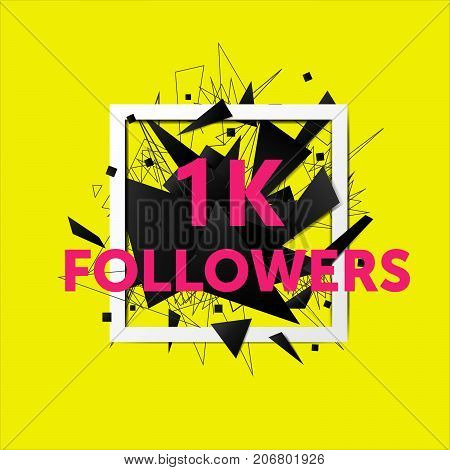 Vector thanks design template for network friends and followers. 1k followers card. Image for Social Networks. Web user celebrates large number of subscribers or followers