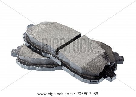 Set of brake pads car spares isolated on white background