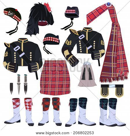 Scottish traditional clothing vector icon set. Scottish highland wear or highland dress items.