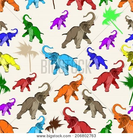 Vector seamless pattern with asian elephant. Bright multi-colored elephants, flat style design illustration.