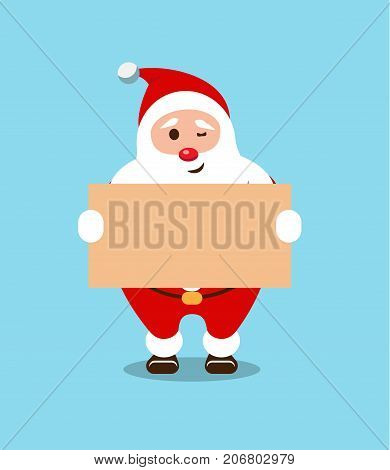 Festive Santa Claus. Kind bearded hero. Christmas old man in a red fur coat. Sticker for winter celebrations. New Year's announcement.