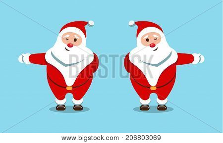 Festive Santa Claus. Kind bearded hero. Christmas pointer to the right and left. Sticker for winter celebrations.