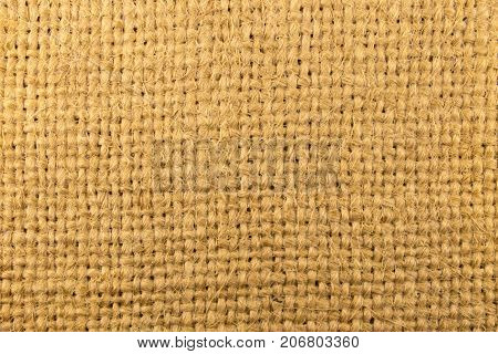 Top view of natural sackcloth. Abstract texture background