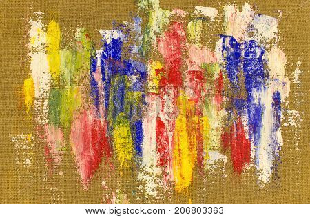 Background with colorful paint smears on natural sackcloth