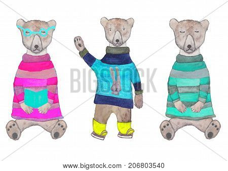 Hipster teddy-bear in a knitted sweater and glasses sleeping hipster teddy-bear in a knitted striped sweater polar bear in a knitted terry sweater. Hand drawn watercolor set