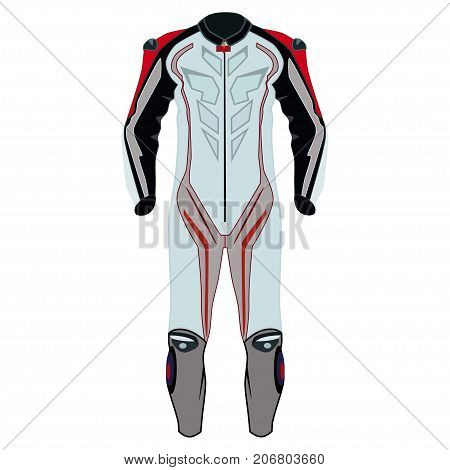 Vector illustration of motorcycle riding or race suit. Hovering motorcycle, hovercraft riding suit icon isolated on white background. Flat style design.