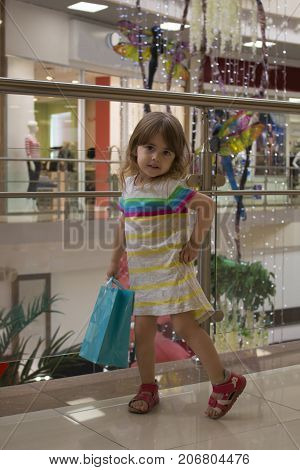 portrait of a kid with shopping bags. Supermarket, Shopping, Child