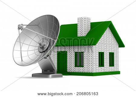 satellite aerial and house on white background. Isolated 3D illustration