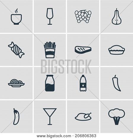 Editable Pack Of Aubergine, Vineyard, Flan And Other Elements.  Vector Illustration Of 16 Eating Icons.